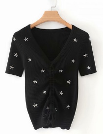 Fashion Black Embroidered V-neck Drawstring Top