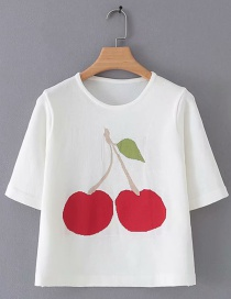 Fashion White Cherry Embroidered Short Sleeve Top