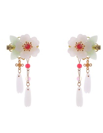 Fashion White Pair Of Flower Tassel Hair Clips