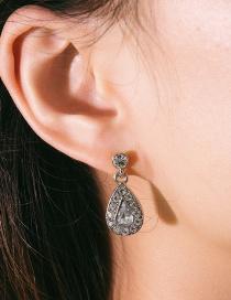 Fashion White K Geometric Drop-shaped Diamond Stud Earrings