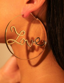 Fashion Gold Alloy Hollow Letter Love Big Circle Earrings
