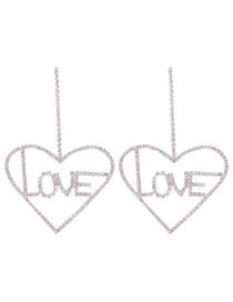 Fashion Heart-shaped Silver Alloy Geometry Stud Earrings