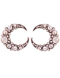 Fashion White Alloy Studded C-shaped Earrings
