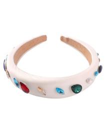 Fashion White Fabric Thick Sponge With Diamond Headband