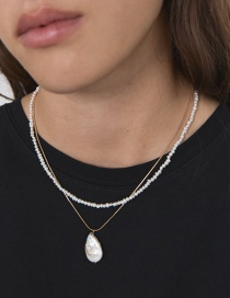 Fashion Gold Alloy Beaded Shaped Pearl Double Layer Necklace