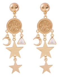 Fashion Gold Alloy Star Moon Embossed Earrings