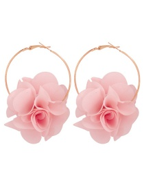 Fashion Light Pink Alloy Fabric Flower Earrings