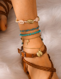 Fashion Gold Alloy Heart-shaped Eyes: Rice Beads: Woven Shell: Multi-layered Anklet