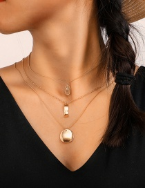 Fashion Gold Metal Geometry Word Round Buddha Statue Multilayer Necklace