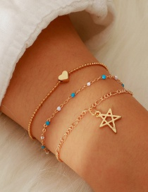 Fashion Gold Alloy Hollow Star Rice Beads Chain 3 Layer Bracelet