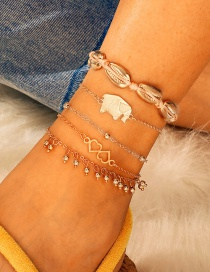 Fashion Gold Alloy Fringed Elephant 缕 Hollow Shell 5 Layer Anklet