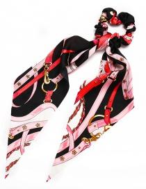 Fashion Black Printed Silk Tow Band