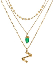 Fashion Z Gold Letter Green Natural Stone Multi-layer Necklace
