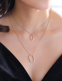 Fashion Golden Shaped Circle Ring Shaped Ring Double Layer Multi-layer Necklace