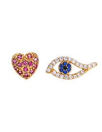 Fashion Gold Eye Love Diamond Asymmetrical Earrings