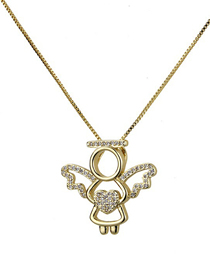 Fashion Gold Heart With A Halo Angel Copper Plated Zirconium Necklace