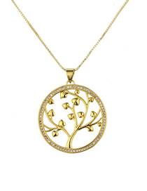 Fashion Gold Round Zircon Copper Plated Life Tree Necklace