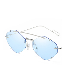 Fashion Blue Frameless Polygon Sunglasses