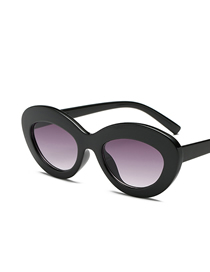 Fashion Black Frame Gradient Gray Oval Ocean Sunglasses