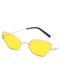 Fashion Yellow Film Small Box Polygon Sunglasses