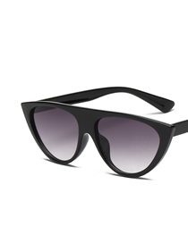 Fashion Black Gradient Gray Cat Eye Transparent Mirror Corner Sunglasses