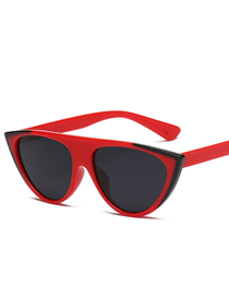 Fashion Black Red Frame Black Gray Piece Cat Eye Transparent Mirror Corner Sunglasses