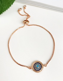 Fashion Rose Gold Copper Inlay Zircon Round Bracelet