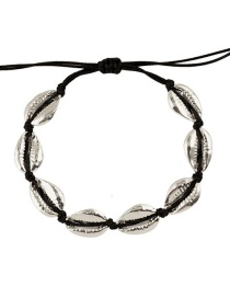 Fashion Black Line + Small Thick Silver Alloy Shell Weave Bracelet