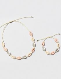 Fashion Pink Alloy Shell Necklace Bracelet Set