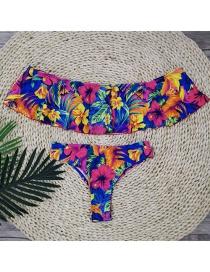 Fashion Flowery High-waisted Shoulder Ruffled Printed Bikini