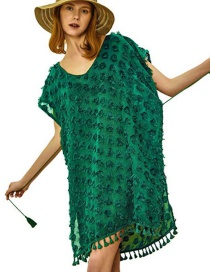 Fashion Green Dot V-neck Chiffon Tassel Strap Blouse