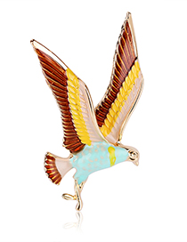 Fashion Color Alloy Dripping Eagle Brooch
