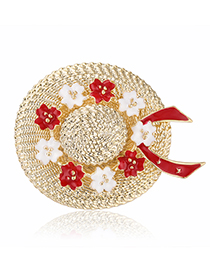 Fashion Red Alloy Drip Hat Brooch