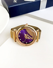 Fashion Champagne Purple Alloy Ladies Watch