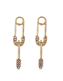 Fashion Ab Color Alloy Diamond Stud Earrings