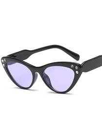 Fashion Black Frame Transparent Purple Piece Cat Eye Gradient Diamond Sunglasses