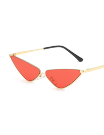 Fashion Red Film Small Box Ocean Piece Metal Triangle Sunglasses