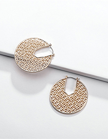 Fashion Gold Geometric Round Openwork Stud Earrings