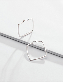 Fashion Silver Geometric Square Hollow Earrings