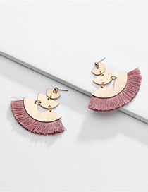 Fashion Pink Alloy Geometric Fan-shaped Multi-layer Cotton Ear Tassel Ear Stud