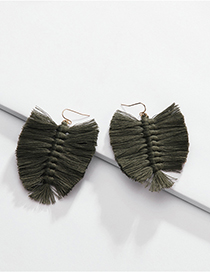 Fashion Green Cotton Thread Fringed Leaves Braided Earrings