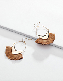Fashion Brown Alloy Geometric Arrow Line Ear Tassel Earrings
