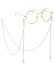 Fashion Silver Metal Round Large Frame Pearl Chain Glasses Chain
