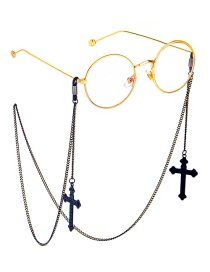 Fashion Black Hanging Neck Cross Chain Glasses Chain