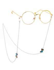 Fashion Silver Animal Multicolored Butterfly Engraved Chain Metal Glasses Chain
