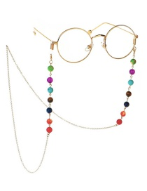 Fashion Gold Natural Stone Colorful Beads 8mm Glasses Chain