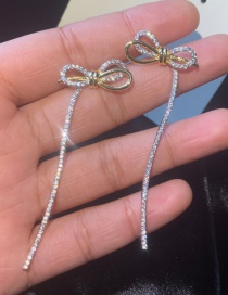 Fashion Gold S925 Silver Needle Bow 18k Gold Earrings