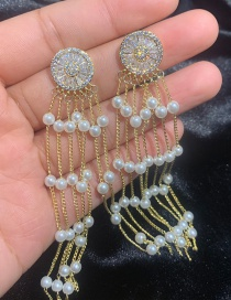 Fashion Gold S925 Silver Pin 18k Gold Bead Chain Round Zircon Earrings