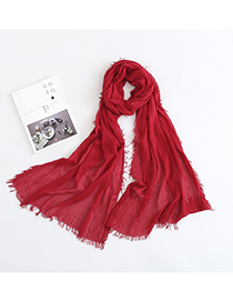 Fashion Red Solid Color Silk Scarf Shawl Sunscreen