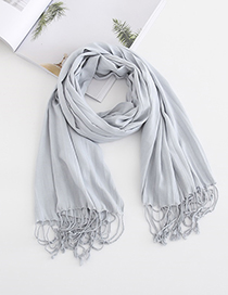 Fashion Light Blue Fringed Scarf Shawl